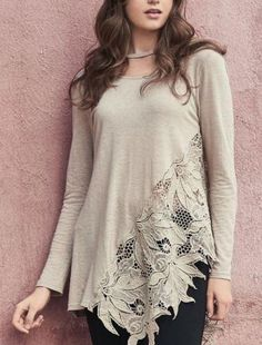 Monoreno Shabby chic vintage crochet lace asymmetrical top with choker neck detail. Scoop round neck. Color: Taupe Sizes: S-M-L Bust 36-38 S, 38-40 M, 40-42 L, Length shortest 32 longest 37 on size Small. 55% Linen, 45% Cotton, trim 100% cotton, wash and rinse in cold water, imported See Crochet wash instructions inf