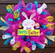 Happy Easter bunny with hot pink mesh