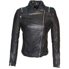 Hand Crafted Leather Washed Motor Cycle Moto Women Jacket With... ($121) ❤ liked on Polyvore featuring outerwear, jackets, black, women's clothing, leather motorcycle jacket, padded motorcycle jacket, black biker jacket, real leather jacket y leather moto jacket