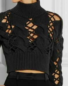 - Just fabulous knitting - Couture Pull Crochet, Mode Crochet, Knit Crochet, Knitwear Fashion, Knit Fashion, Fashion Outfits, Womens Fashion, Diy Vetement, Vogue Knitting