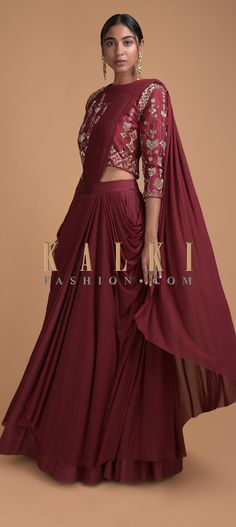 Deep Maroon Lehenga With Embroidered Blouse And Pre Stitched Drape Dupatta Online - Kalki Fashion Choli Designs, Lehenga Designs, Blouse Designs, Dress Designs, Indian Gowns Dresses, Indian Fashion Dresses, Indian Wedding Outfits, Indian Outfits, Indian Attire