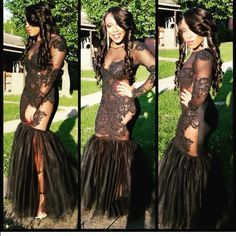 Prom Dress! Beautiful CUSTOM made fitted prom dress .. black and lace and backless .. only worn once ! Dresses Backless
