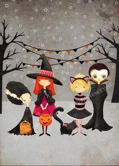 Halloween Art Print --The Boo Crew  Print - kids art children's art decor nursery cute whimsical. $10.00, via Etsy.