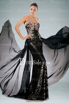 Shimmering Sequined Strapless Sheath Evening Dress Highlighted with Beaded Applique and Outer Skirt