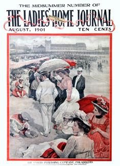 American Gilded Age society members, enjoying their leisure time at the beach and boardwalk. ~ Cover image of: The Ladies' Home Journal, August, c.1901- Midsummer edition. American artist/illustrator: Alice Barber Stephens, (1858-1932). The Curtis Publishing Company, Philadelphia. ~ {cwlyons} ~ (Image: Magazine Art)
