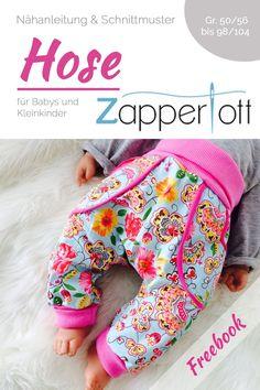 Kostenlose Nähanleitung für eine Baby- und KleinkindhoseDie Hose Zapperlott ist eine bequem geschnittene Hose für Babys und Kleinkinder in den Doppelgrößen 50/56 bis 98/104. Der Schnitt ist perfekt für große Windelpopos und...