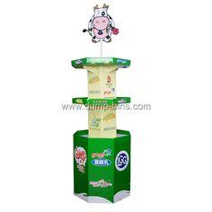 B060 POP Corrugated Tower 4 Side Display With Logo for Milk_Dump Bins