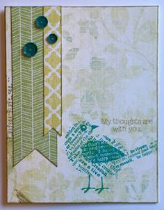 Card made with supplies from Close to My Heart (CTMH) - Paper Bird stamp set, Skylark paper packet, Oceanside sequins
