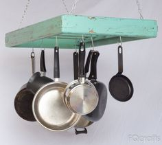 Wooden Hanging Pot Rack - Aqua Marine - store pots, pans, and cookware from the ceiling, supplied with 10 hooks for convenient storage. by fqcrafts on Etsy