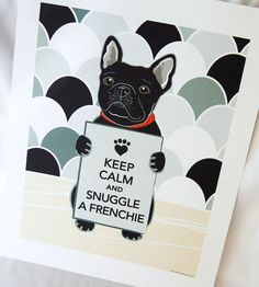 Keep Calm Frenchie on Gray Scaled Background - Eco-friendly 7x9 Print |  AfricanGrey | Etsy