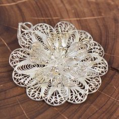 Sterling Silver Filigree Flower Pendant JI506 | eBay