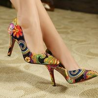 sexy red high heels ladies women shoes woman 2014 pumps fashion pointed toe 9cm flowers print pumps women leather wedding shoes