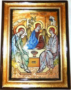 Holy Trinity glass icon by Elena Cerasela Ciuca Orthodox Icons, Holi, Angels, Princess Zelda, Glass, Fictional Characters, Drinkware, Angel, Corning Glass