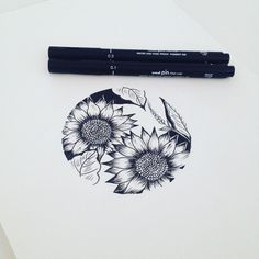 """213 Likes, 8 Comments - DOROTHEE THOMSON (@graphicby_d) on Instagram: """"Sunflowers in circle for @katieclairesees #graphicbyd #minimalisttattoo #minimalistdrawing…"""""""