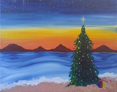 """ Cali Christmas"" 3 hr painting AVALIABLE for Classes www.popupstudiosoc.com"