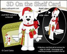 **COMING SOON** Little Christmas Labrador Dog  3D On the Shelf Card Kit - on http://www.craftsuprint.com/carol-clarke/?r=380405