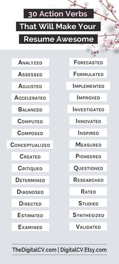 Resume Power Words, Free Resume Tips, Resume Template, Resume - powerful verbs for resume
