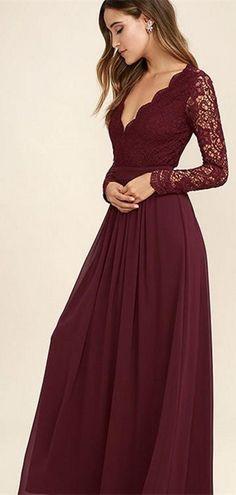 0cb4e818ef6766 V-neck Long Sleeves Lace Chiffon Bridesmaid Dresses, Cheap Bridesmaid  Dresses