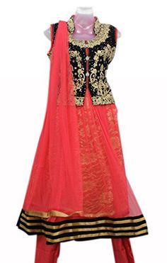 Red and Black Colour Girls Party Wear Punjabi Suit, Vasundhara Fashions Indian clothing