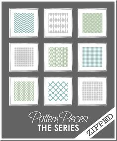 Pattern Pieces :: ZIPPED  (25 colorways in each pattern, zipped into 1 file)