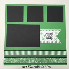 March Scrapbook Page, St. Patrick's Day, Scrapbook Layout, www.StampwithPeggy.com