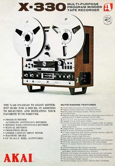 1970 ad for Akai X-330 reel tape recorder in   Phantom Productions vintage recording collection