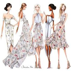 My illustrated ladies for All designs available now Fashion Design Drawings, Fashion Sketches, Fashion Illustration Dresses, Fashion Illustrations, Fashion Figures, Fashion Sketchbook, Fashion Portfolio, Designs To Draw, Fashion Art