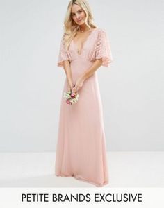 John Zack Petite Open Back Maxi Dress With Fluted Lace Sleeve