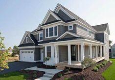 Top 50 Best Exterior House Paint Ideas - Color Designs Exterior Paint Schemes, Exterior Paint Colors For House, Paint Colors For Home, Exterior Colors, Exterior Design, Paint Colours, Exterior Homes, Grey Colors, Ranch Exterior
