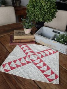 Antique Turkey Red And White Flying Geese Table Quilt Doily 15x14 Primitive #2