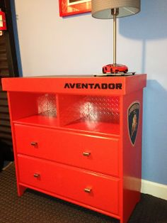 Car themed dresser and car lamp - IKEA Hackers. I could TOTALLY do this but with a fire or police theme!