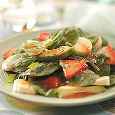 Spinach Salad with Fruit Recipe -Tossed with ripe banana chunks, fresh strawberries and a poppy seed vinaigrette, this fabulous spinach salad looks and tastes special enough for company. —Joan Antonen, Arlington, South Dakota