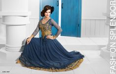 Superbly Designed Party Wear Gown in Netted Fabric with Santoon inner in Navy Blue color with beautiful Diamond Hand work done. Best for Parties and Ceremonial Occasions. Gold Gown, Indian Salwar Kameez, Evening Party Gowns, Gowns Of Elegance, Prom Dresses, Formal Dresses, Designer Gowns, Blue Gold, Navy Blue