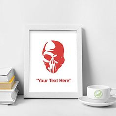 STICKERSLUG Custom Text Zombie Skull Vinyl Wall Sticker Decal 8 inches matte red * Read more  at the image link.