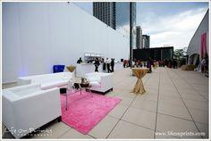 Millennium Park Rooftop Terrace wedding cocktail setup with couches