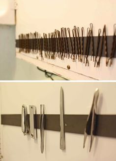 50 Genius Storage Ideas ~ Use a magnetic strip on the inside of a medicine cabinet door or in a drawer!