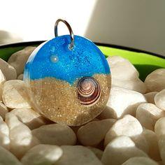 Beach scenes round necklace resin jewellery
