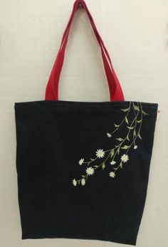 Hand Embroidery Videos, Hand Embroidery Flowers, Embroidery Bags, Bead Embroidery Jewelry, Painted Canvas Bags, Japanese Quilt Patterns, Homemade Bags, Crochet Shoulder Bags, Hand Painted Fabric