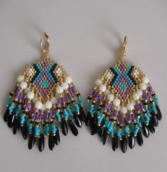 SALE  Seed Bead Earrings  Purple/Turquoise  Copyright by pattimacs