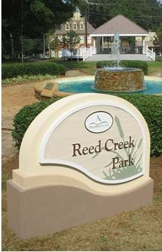 A fancy park sign, probably would bust the client's budget!  Custom Entrance Signs | Development main identity entrance signage structures and outdoor sign solutions.
