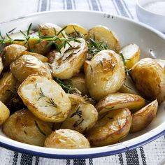 Roasted Baby Potatoes with Rosemary Recipe Olive oil, rosemary, and cracked garlic Roast 450 for 20 minutes