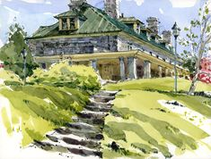 Stewart Hall in Spring - watercolor painting by Shari Blaukopf