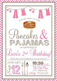 Pancakes & Pajamas Birthday Party by MyPerfectPartyStudio on Etsy