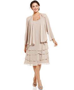 SL Fashions Plus Size Sleeveless Embellished Tiered Dress and Jacket - Plus Size Dresses - Plus Sizes - Macy's