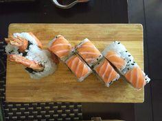 Uramaki ebiten, with salmon and fried shrimps