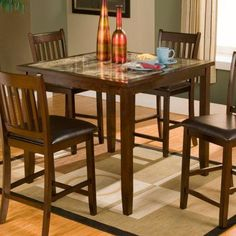 Dorel Living Andover Faux Marble Counter Height Dining Set, Cherry ...
