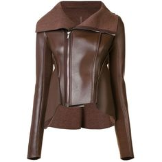 Rick Owens Lilies asymmetric zip up leather jacket (955.820 CLP) ❤ liked on Polyvore featuring outerwear, jackets, casacos, brown, asymmetrical zipper jacket, asymmetrical zip leather jacket, brown jacket, real leather jackets and 100 leather jacket