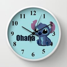 Chibi Stitch Wall Clock by Katie Simpson  - $30.00 Ever since I drew Chibi Toothless I have been wanting to draw one of Stitch. I can't get over how much those two look a like.    (Disney Lilo and Stitch, Alien, 626, experiment 626, vector, fan art, Katie Simpson, Redhead-K, Chibi's, cute, funny, love, Ohana, Ohana means family. Family means nobody gets left behind or forgotten.)