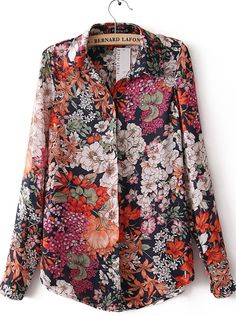 Red Lapel Long Sleeve Vintage Floral Blouse 17.51