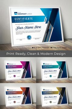 This is a modern & smart look certificate template with 5 different color variation. Which you can make a part of your business. Certificate Layout, Certificate Background, Certificate Design Template, Award Template, Certificate Of Appreciation, Certificate Of Achievement, Award Certificates, Stationery Printing, Stationery Design